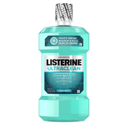 (2 pack) Listerine Ultraclean Oral Care Antiseptic Mouthwash, Cool Mint, 1 l
