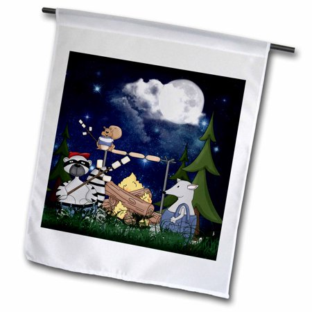 3dRose Raccoon, Squirrel and Opossum Camping with a Campfire and Marshmallows - Garden Flag, 12 by