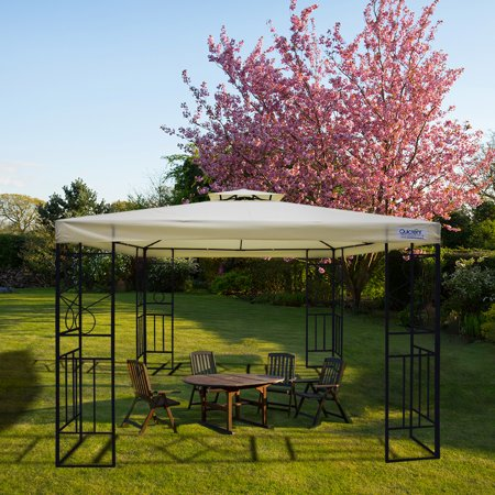 Quictent 10x10 Metal Gazebo Canopy Soft top Pergola Gazebo for Deck, Patio and Backyard Double Tier Roof Waterproof (Beige) ()