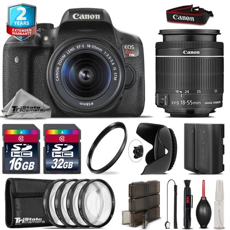 Canon EOS Rebel T6i + 18-55mm IS STM + 4PC Macro Kit + Extra Battery - 48GB