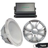 "Two Wet Sounds Revo10fas4-W 10"" White Subwoofers With Silver XS Grilles & Kicker KMA600.1 600-Watt Marine Amplifier"