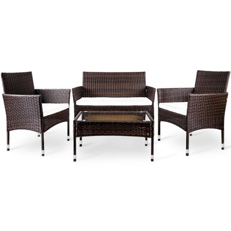CLEARANCE! Beige Wicker Patio Furniture Sets, 2019 Upgrade 4-Piece Wicker Patio Conversation Sets w/Loveseat Seats, 2 Armchair Sofas, Coffee Dining Table and Padded Cushions, Brown, S13130 Wicker Two Seat