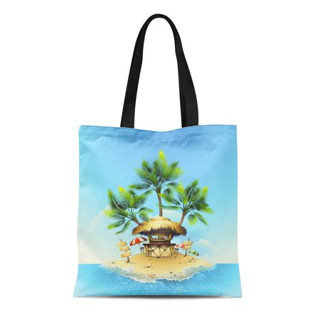 - KDAGR Canvas Tote Bag Yellow Beach Tropical Bungalow Bar on Island in Ocean Reusable Shoulder Grocery Shopping Bags Handbag