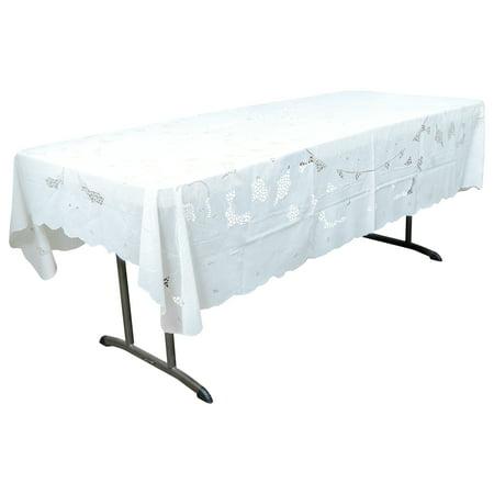 Malu White Vinyl Lace Tablecloth Mantel 60 x 90