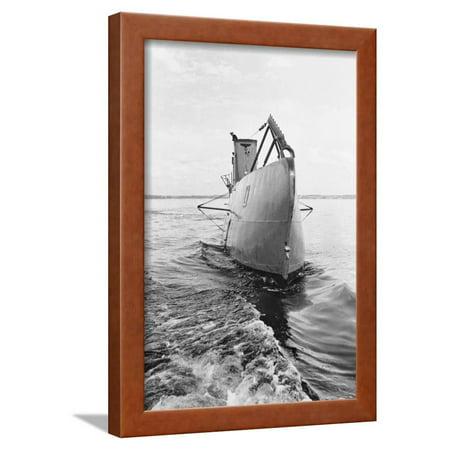 German U Boat in the Water Framed Print Wall Art (German U Boat On Display In Chicago)