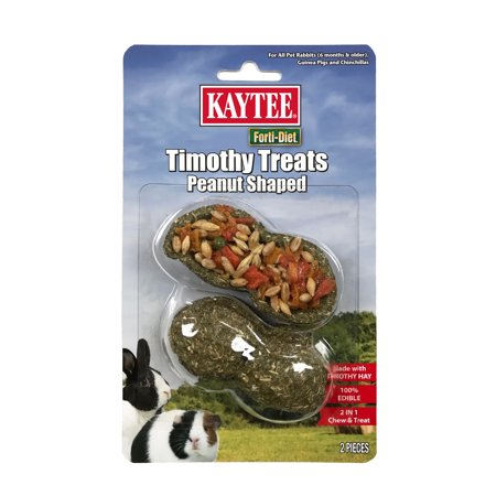 (Pack of 2) Kaytee Forti-Diet Timothy Hay Stuffed Peanut Shaped Treats for Rabbits, Guinea Pigs and - Halloween Treats No Peanuts