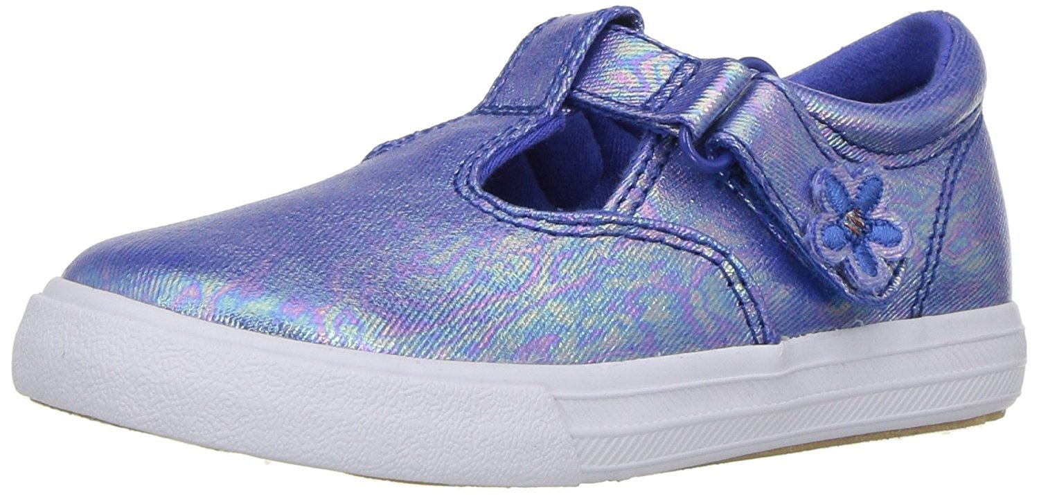 Keds Girls' Daphne T-Strap Sneaker, Blue Iridescent, 4 M US Toddler by Keds