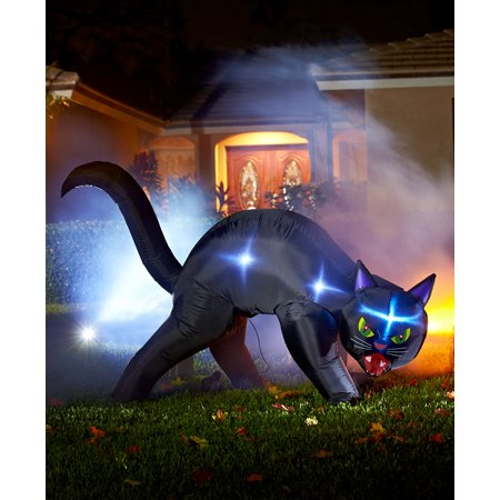 Halloween Inflatables Cat (Halloween Lighted Inflatables Nylon Metal Pumpkin Ghost Trio and Jack-O'-Lantern (Black)