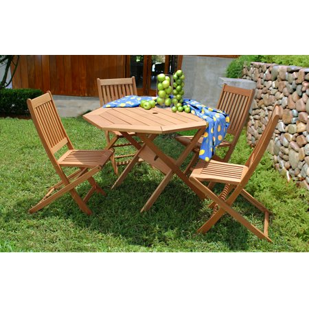 Milano Eucalyptus Octogonal 5-Piece Patio Dining Set - Milano Eucalyptus Wood