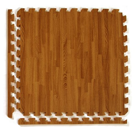 Greatmats Wood Grain Reversible Foam Interlocking 2 Ft X 1 In Floor Tiles Dark Tan 25 Pack