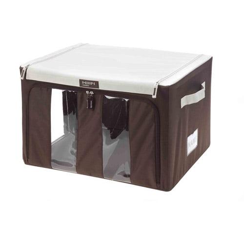 Quest Medium Storage Bin with Handles, Brown and White