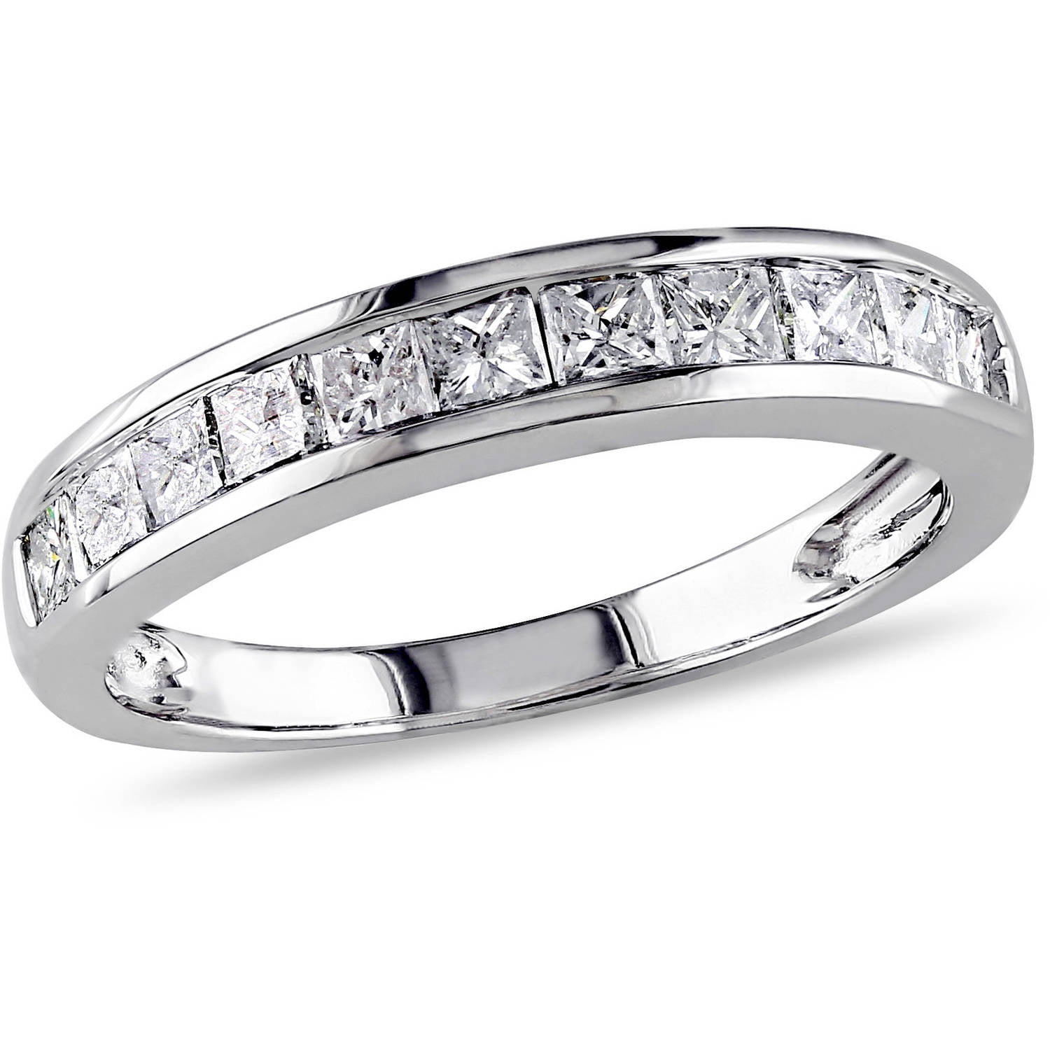 Miabella 3 4 Carat T.W. Princess-Cut Diamond 14kt White Gold Wedding Band by Generic