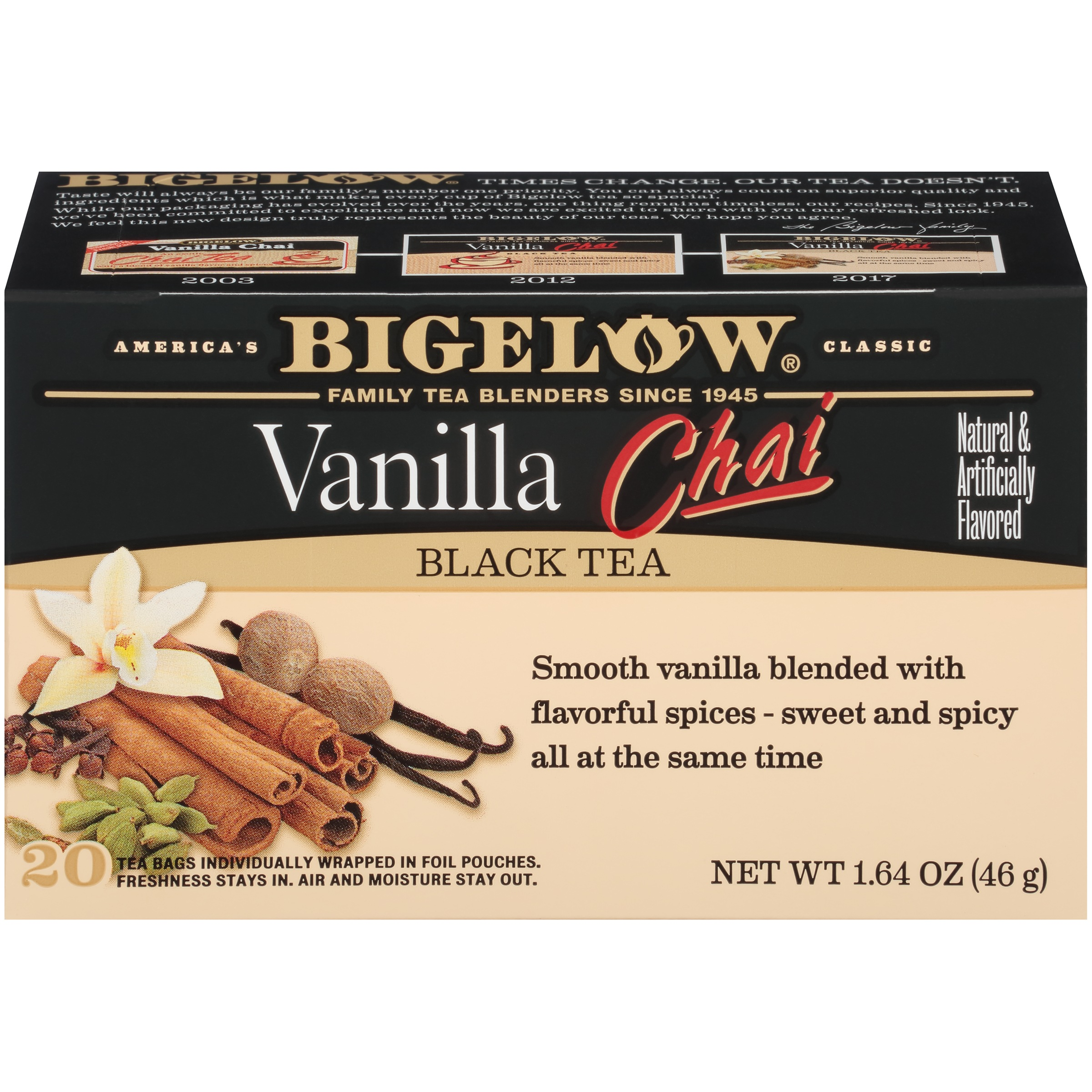 (3 Pack) Bigelow Vanilla Chai Black Tea, Tea Bags, 20 Ct