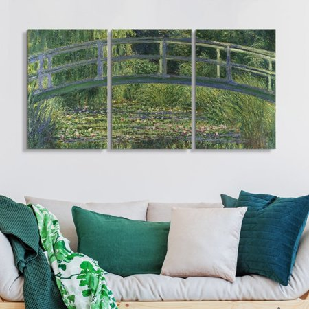 wall26 3 Panel Canvas Wall Art - The Water Lily Pond by Claude Monet - Giclee Print Gallery Wrap Modern Home Decor Ready to Hang - 16