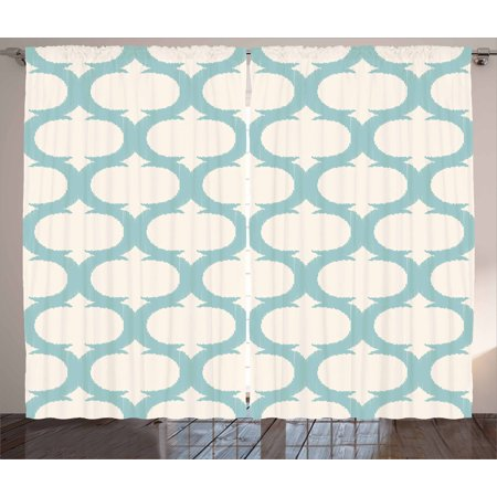 Aqua Curtains 2 Panels Set Mesh Pattern With Curvy Figures Ancient Arabic Lattice Design Old