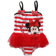 Puloru Little girl swimsuit striped mouse print suspender swimsuit