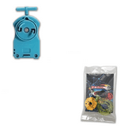 Blue BB-17 Beyblade String Launcher with 5 Piece Customizing Combo Set