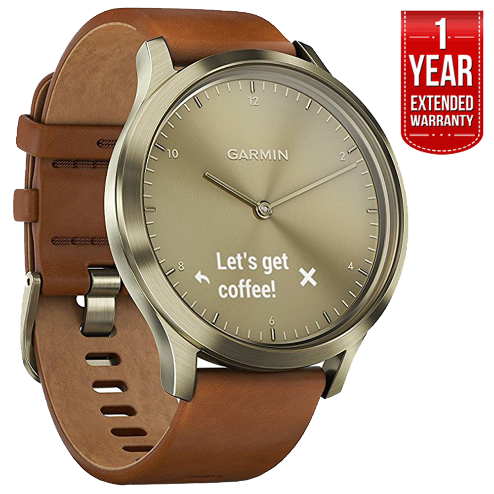 Garmin (010-01850-15) Vivomove HR, Premium, Gold Tone w/ Leather Band - Small/Medium + 1 Year Extended Warranty