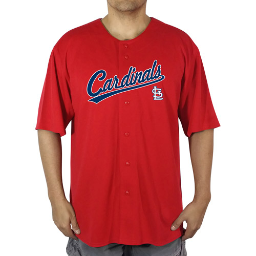 MLB St Louis Cardinals Big Men's Poly Button Down Jersey