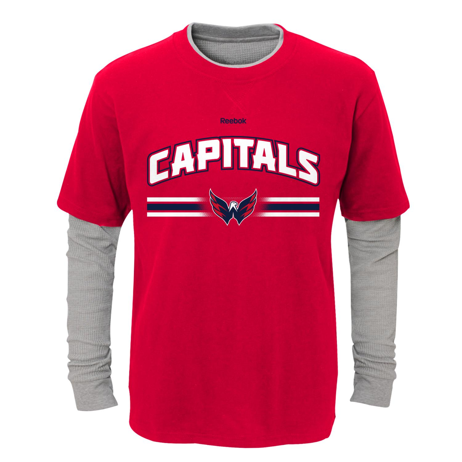 "Washington Capitals Youth NHL ""Bleachers"" L S Faux Layer Thermal Shirt by Outerstuff"