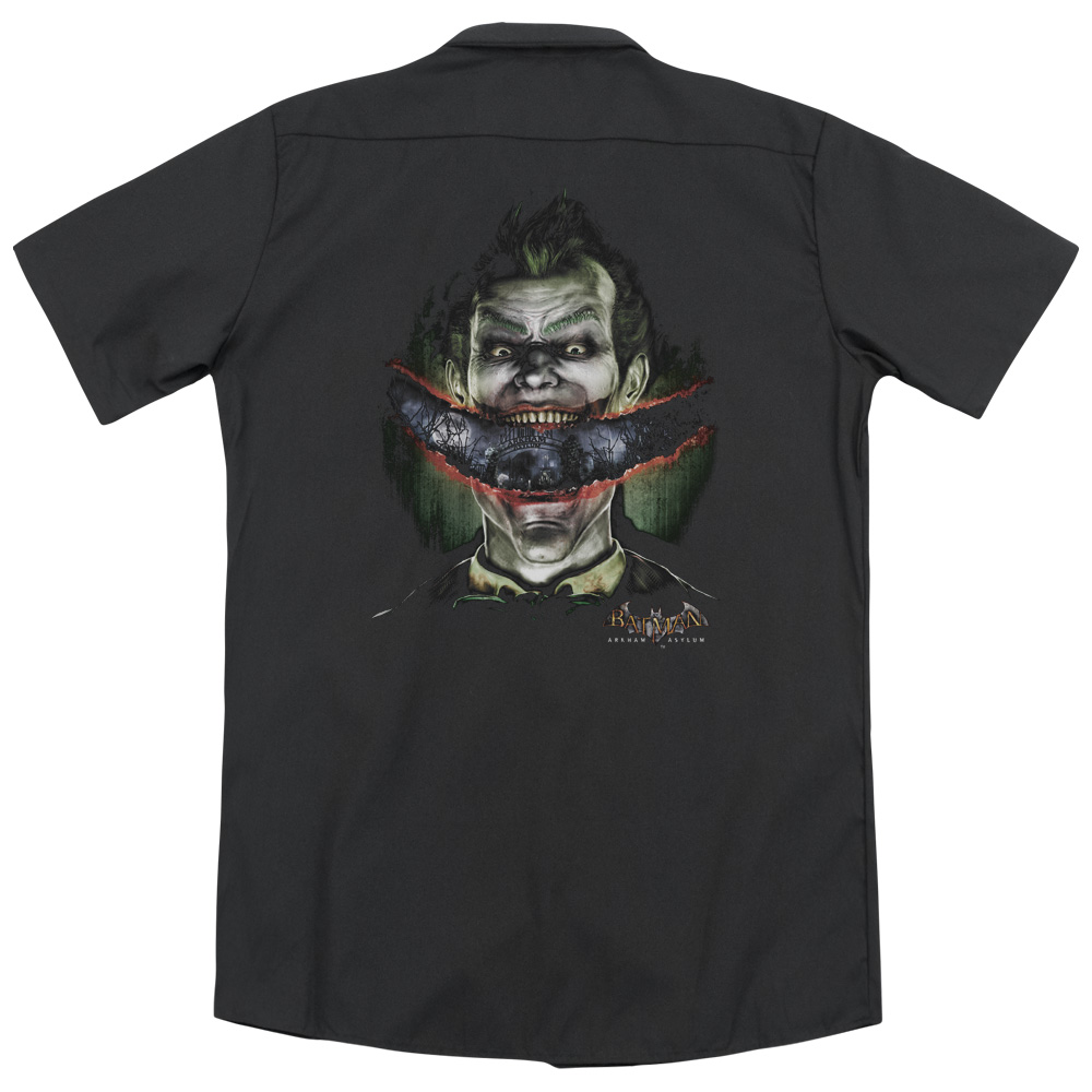 Batman Arkham Asylum Crazy Lips (Back Print) Mens Work Shirt