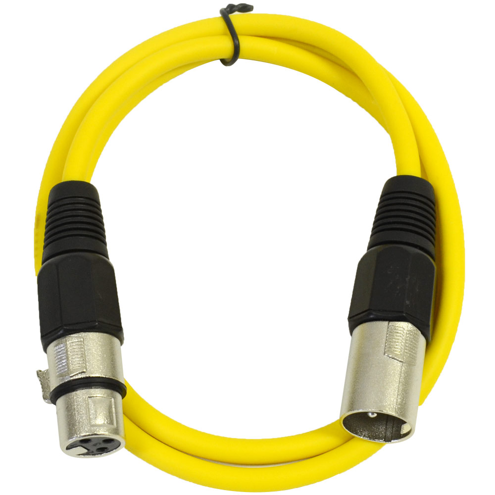 Seismic Audio  Yellow 2' XLR Patch Cable  Snake Mic Cord Yellow - SAXLX-2Yellow
