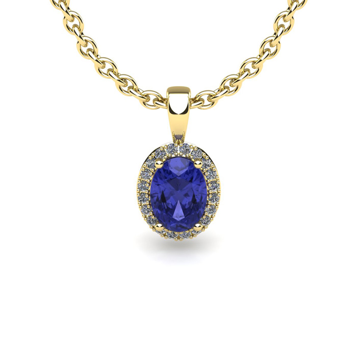 0.62 Carat Oval Shape Tanzanite and Halo Diamond Necklace In 14 Karat Yellow Gold With 18 Inch Chain by SuperJeweler