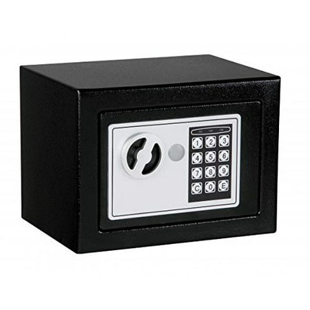 NEW Small Black Digital Electronic Safe Box Keypad Lock Home Office Hotel Gun 17, Opens with digital PIN or included override key. Hidden lock with two keys By Best Security Ship from US