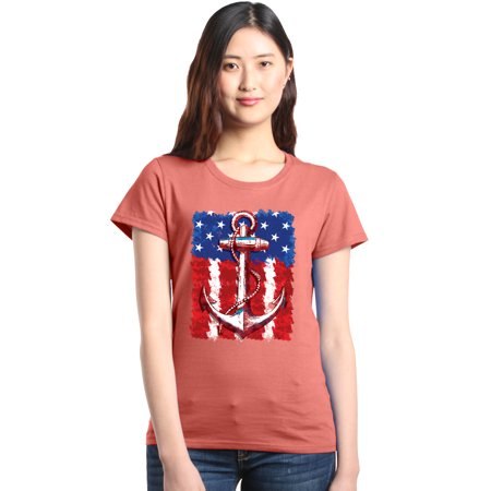 787e590ab2 Shop4Ever Women's American Flag Anchor 4th of July Graphic T-Shirt