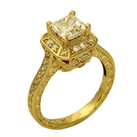Antique Style Engagement Ring Mounting (2.00 Ct 14K Real Yellow Gold Square Princess Cut with Pave Set Side Stones 4 Prong Fancy Vintage Antique Style Engagement Wedding Propose Promise Ring )