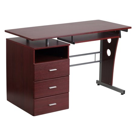 Flash Furniture Mahogany Desk with 3-Drawer Pedestal and Pull-Out Keyboard Tray