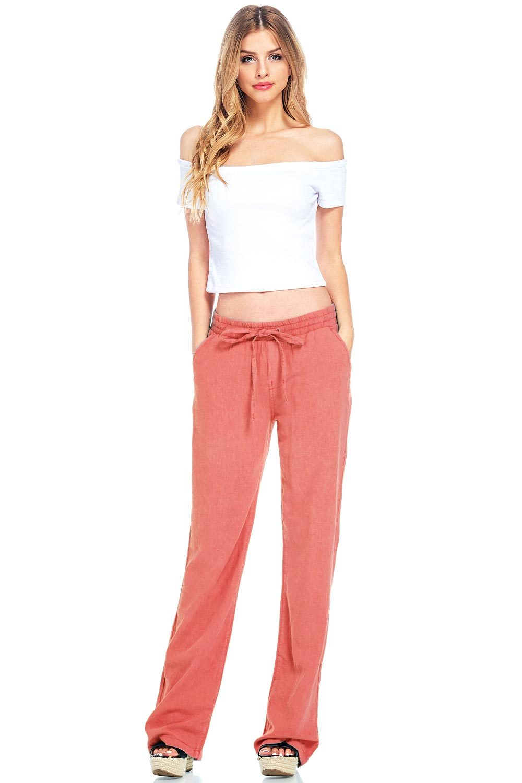 Celebrity Pink Women's Juniors Mid Waist Wide Leg Linen Pants (S, Coral)