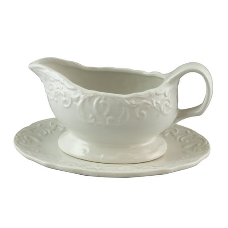 Gibson Home Royal Abbey 18 oz Embossed Durastone Gravy Boat with Saucer in White