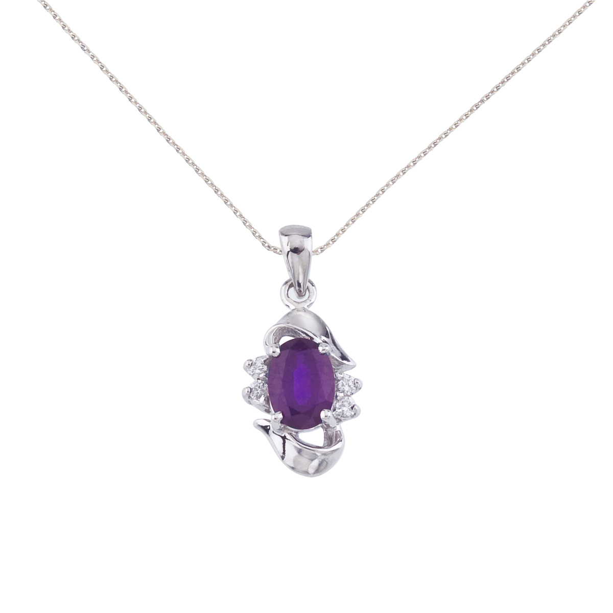 """14k White Gold Oval Shaped Amethyst & Diamond Pendant w  18"""" Chain by"""