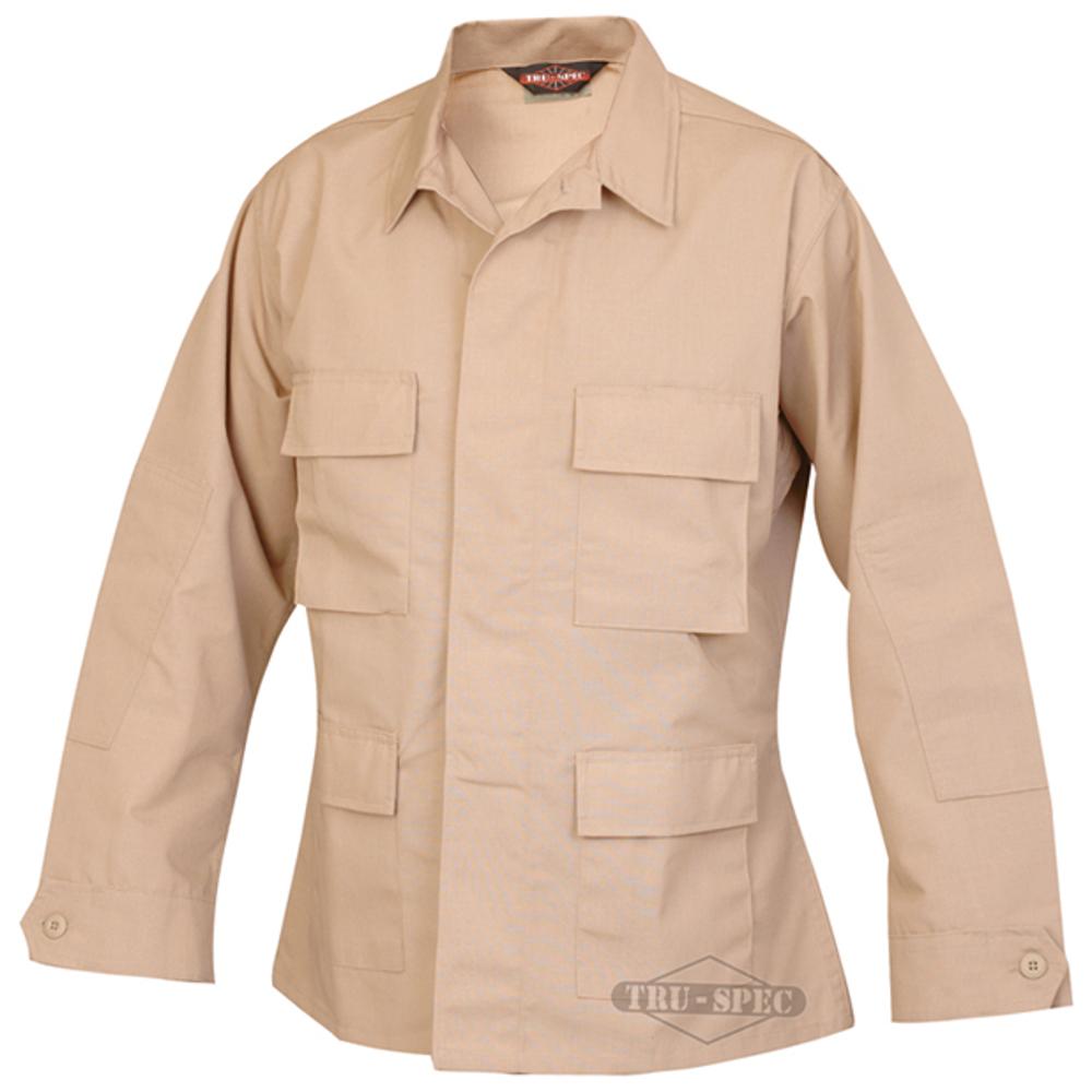 Tru-Spec 65/35 Polyester/Cotton Rip-Stop Battle Coats (BDU) Khaki Large