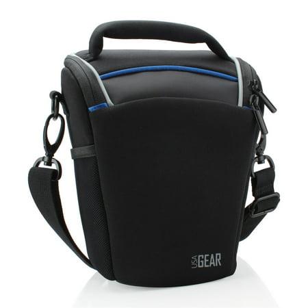 USA Gear SLR/DSLR Camera Case Bag with Top Loading Accessibility , Adjustable Shoulder Sling , Padded Handle , Removeable Rain Cover & Weather Resistant Bottom - Black