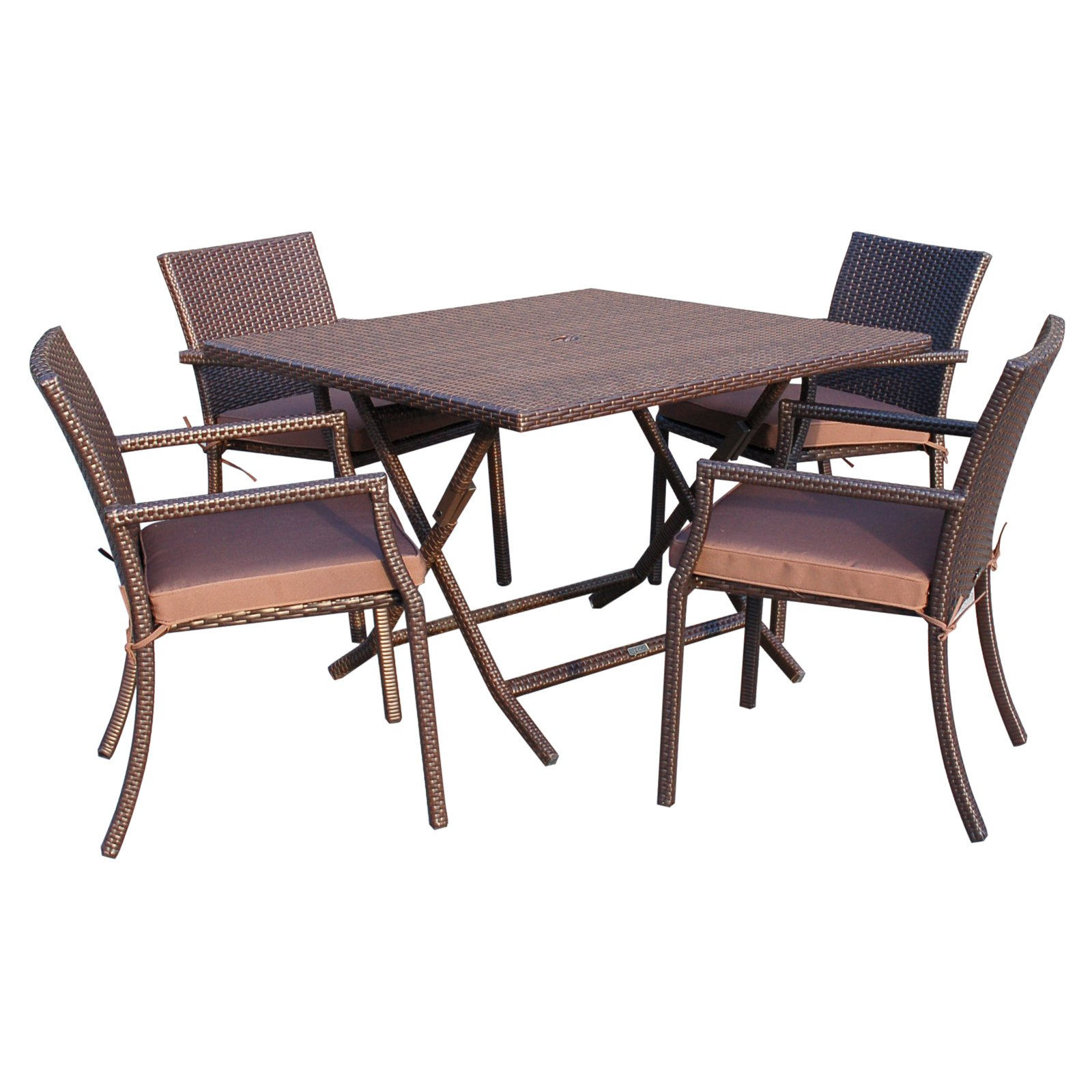 Jeco Cafe Wicker 5-Piece Square Patio Dining Set