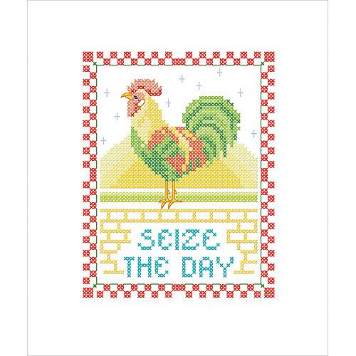 "Seize The Day Stamped Cross Stitch Kit-7""X9"""