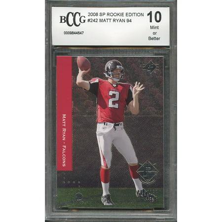 2008 Sp Rookie Edition  242 Matt Ryan 94 Atlanta Falcons Rookie Card Bgs Bccg 10