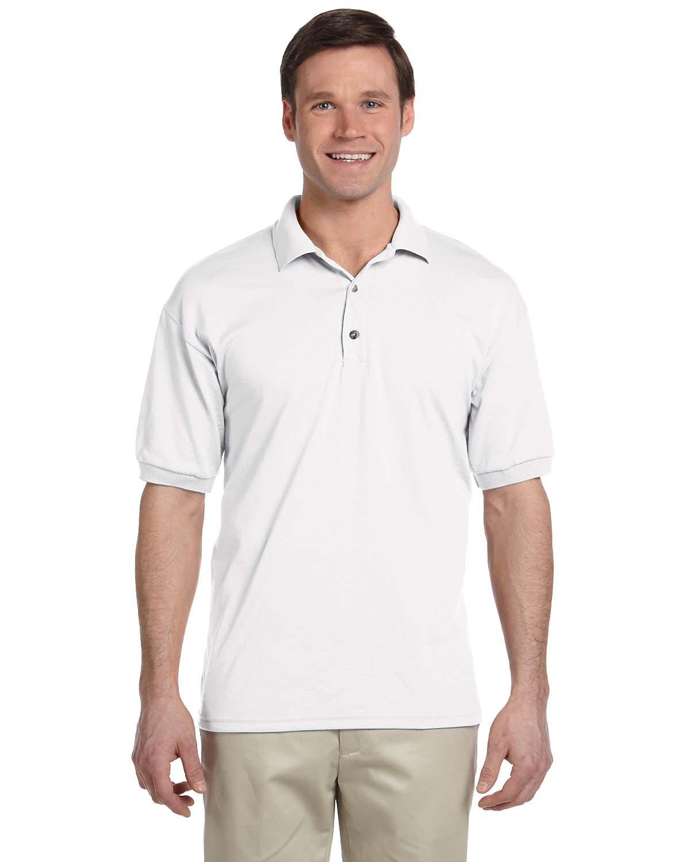 Branded Gildan Adult 6 oz, 50/50 Jersey Polo Shirt - WHITE - XL (Instant Saving 5% & more on min 2)