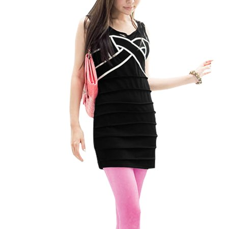 Unique Bargains Women's Mesh Sleeveless Tiered Panel Tunic Shirt Black (Size XS / 0)