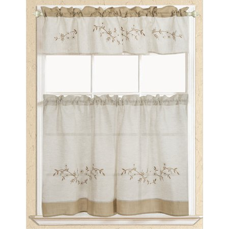 Rustic Embroidered Floral Tier And Valance Kitchen Curtain Set