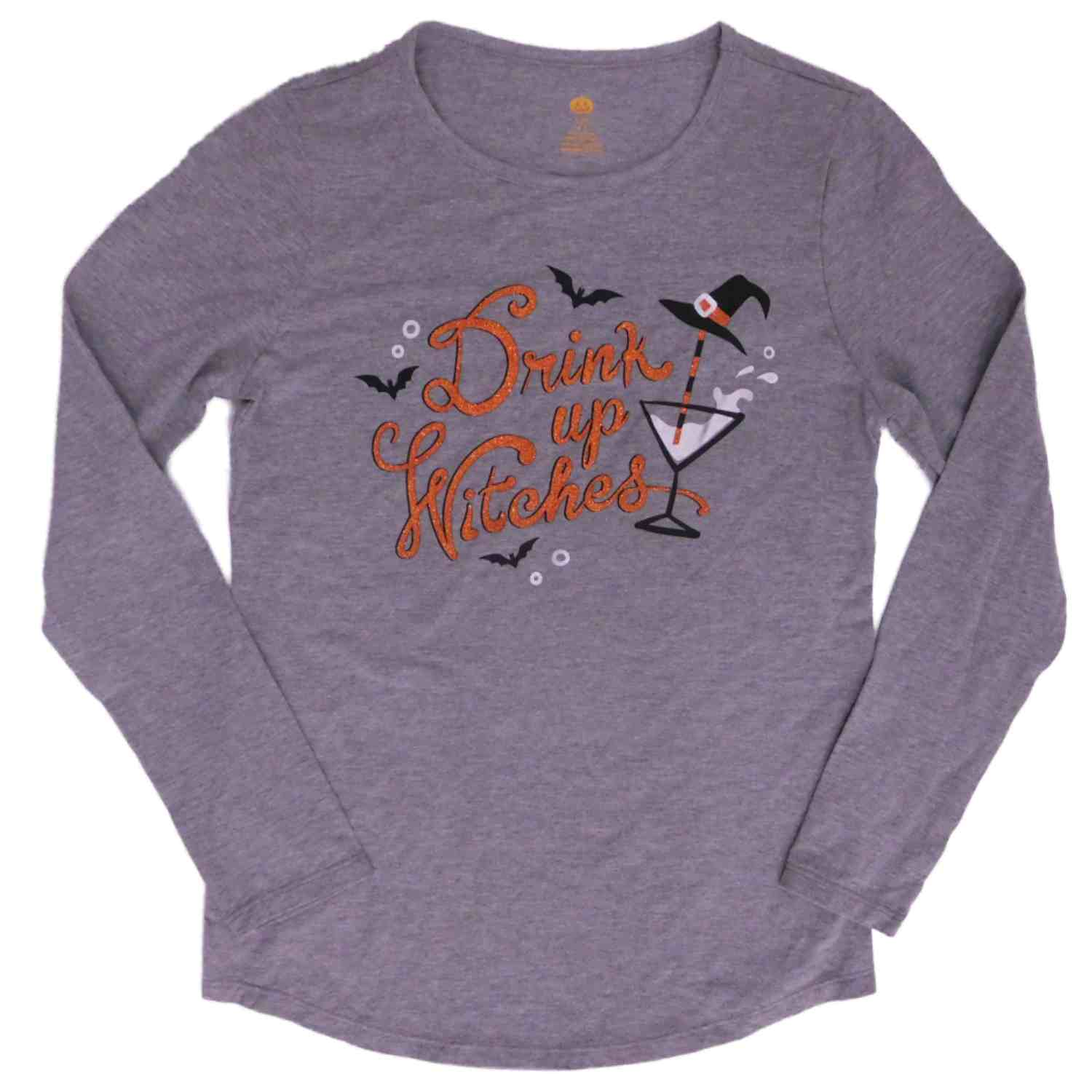 Womens Gray Drink Up Witches T - Shirt Long Sleeve Halloween Glitter Tee