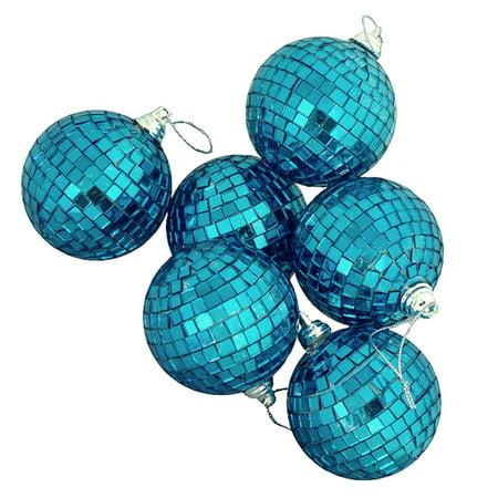 - 9ct Peacock Blue Mirrored Glass Disco Ball Christmas Ornaments 2.5