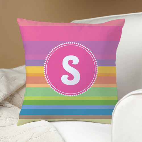 Personalized Rainbow Stripes Pillow