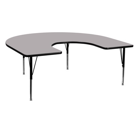 Horseshoe Table Decorations (Flash Furniture 60''W x 66''L Horseshoe Shaped Activity Table with Grey Thermal Fused Laminate Top and Standard Height Adjustable)