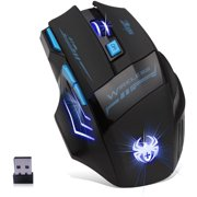 Wireless Gaming Mouse ZELOTES 2.4GHZ USB Mice 2400 4 DPI Adjustable Optical Mouse w/ LED Light 13 Buttons Black