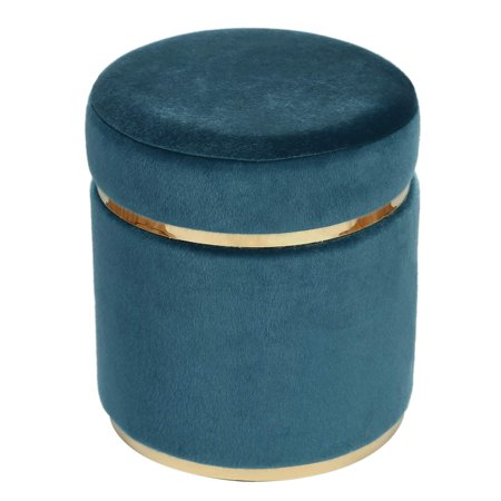 Adeco Small Round Ottoman, Upholstered with Gold Plating Metal Base, Footstool Rest Extra Seat, Small Living Room Ottomans & Footrest