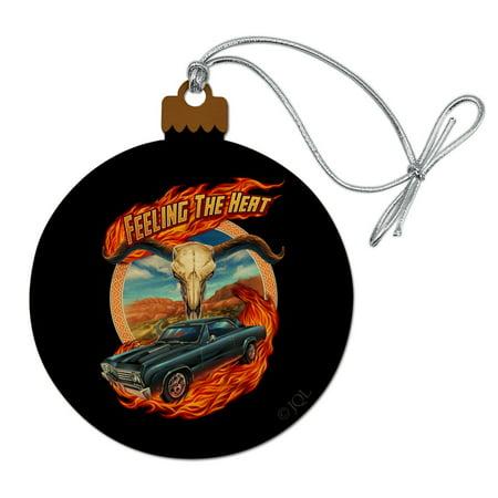 Hot Rod Muscle Classic Car Feeling Heat Steer Skull Wood Christmas Tree Holiday Ornament ()