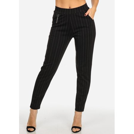 Womens Juniors Evening Wear 2-Pocket High Waisted Stripe Print Skinny Pants
